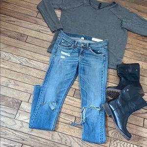 Tag & Bone Busted Knee Destroyed Skinny Jeans